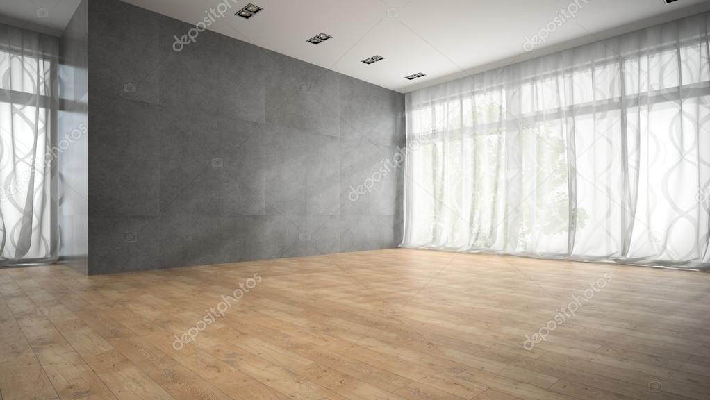 Vaciar la habitación de diseño moderno con parquet render 3d piso ...