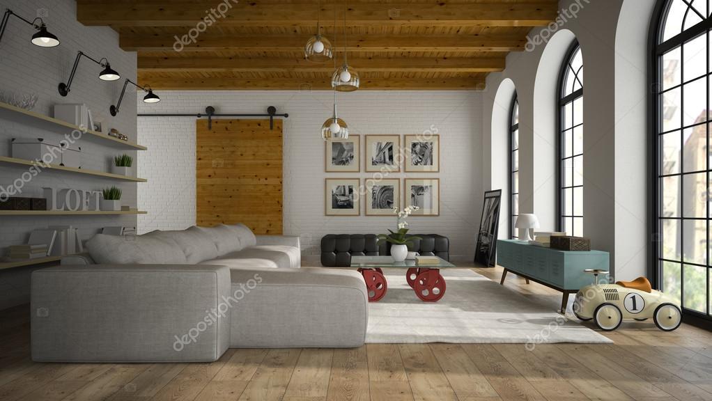 Int rieur du loft design moderne avec un rendu 3d voiture jouet photographi - Design interieur voiture ...