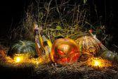 Halloween, Pumkins and Broom — Stock Photo