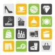 Silhouette Shopping and mall icons - vector icon se — Stock Vector #52496559