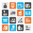 Silhouette Household Gas Appliances icons — Stock Vector