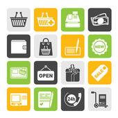 Silhouette shopping and retail icons — Stock Vector
