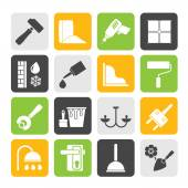 Silhouette Construction and building equipment Icons — Stock Vector