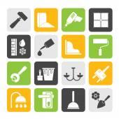 Costruzione della sagoma e icone di attrezzature da costruzione — Vettoriale Stock