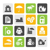 Silhouette Insurance and risk icons — Stock Vector
