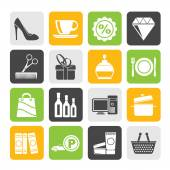 Silhouette Shopping and mall icons - vector icon se — Stock Vector