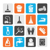Silhouette Cleaning and hygiene icons — Vector de stock