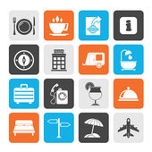 Silhouette Traveling and vacation icons — Stock Vector