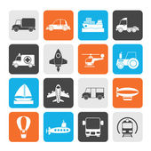 Silhouette Different kind of transportation icons — Stockvector