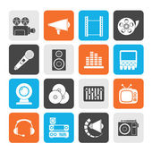 Silhouette Audio and video icons — Stock Vector