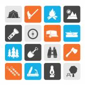 Silhouette Camping, travel and Tourism icons — Stock Vector