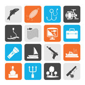 Silhouette Fishing industry icons — Stock Vector