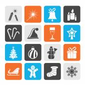 Silhouette Christmas and new year icons — Stock Vector