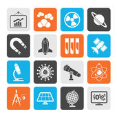 Silhouette science, research and education Icons — Vettoriale Stock