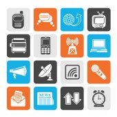 Silhouette Communication and connection icons — Vector de stock