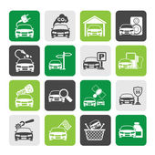 Silhouette Car and road services icons — Stock Vector