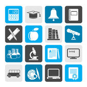 Silhouette Education and school objects icons — Stock Vector