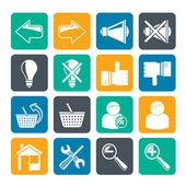 Sylwetka ikony strony internetowej i Internetu — Wektor stockowy