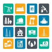 Silhouette Petrol and oil industry icons — Stock Vector