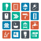 Silhouette Construction and home renovation icons — 图库矢量图片