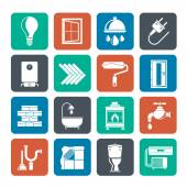 Silhouette Construction and home renovation icons — Vector de stock
