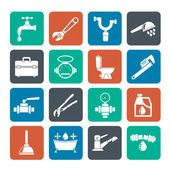 Silhouette plumbing objects and tools icons — Stock Vector