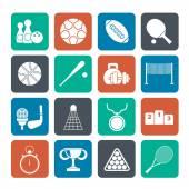 Silhouette Sport equipment icons — Stock Vector