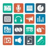 Silhouette Music and audio equipment icons — Stock Vector
