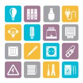 Silhouette Electrical devices and equipment icons — Stock Vector