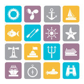 Silhouette Marine and sea icons — Stock Vector