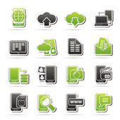 Connection, communication and mobile phone icons — Vector de stock