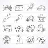 Araba Servisi bakım simgeleri — Stok Vektör