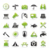 Camping and tourism icons — Stock Vector