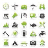 Camping och turism ikoner — Stockvektor