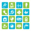 Silhouette Green, Ecology and environment icons — Stock Vector #57621455