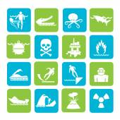 Silhouette Warning Signs for dangers in sea, ocean, beach and rivers — Stok Vektör