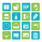 Silhouette Business and office equipment icons — Stock Vector