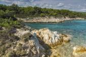 Orange Beach Kavourotripes, Chalkidiki, Sithonia, Central Macedonia — Stock Photo