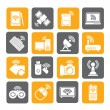 Silhouette Wireless and communications icons — Stock Vector #59752815