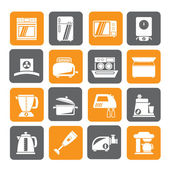 Silhouette kitchen appliances  and equipment icons — Stock Vector
