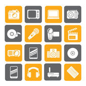 Silhouette Media and technology icons — Stockvektor
