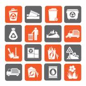 Silhouette Garbage and rubbish icons — Stock Vector