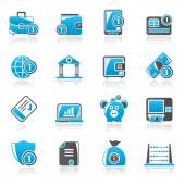 Financial, banking and money icons — 图库矢量图片