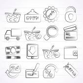 Shopping and retail icons — Stock Vector