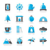 Winter, Sport and relax icons - vector icon set — Stock Vector
