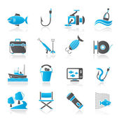 Fishing industry icons - vector icon set — Stock Vector