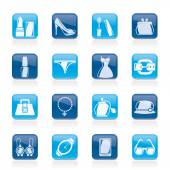 Female Fashion objects and accessories icons- vector icon set — Stock Vector
