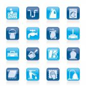 Cleaning and hygiene icons - vector icon set — Stock Vector