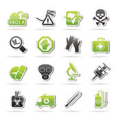 Ebola pandemic icons — Stock Vector