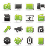 Multimedia and technology Icons — Stock Vector